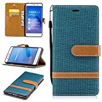KKEIKOŽ Huawei P9 Lite Leather Case [with Free Tempered Glass Screen Protector], Huawei P9 Lite Premium Notebook Style Flip Wallet Case, Protective Bumper Cover (Green)