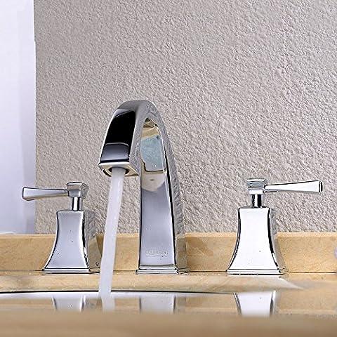 CAC Ottone cromato diffusa vasca da bagno rubinetto maniglie doppia