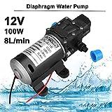 Pompa autoadescante per l'acqua, di tipo a diaframma, pompa acqua per auto caravan, ad alta pressione, 160 psi/11,03 bar, 8 l/min, 100 W/12 V CC, ideale per lavaggi