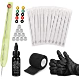 Anself Hand Poke and Stick Tattoo Kit DIY Tattoo Supply with Ink and Ink Box Tattoo Needles Set Includes 1RL/3RL/5RL/7RL/9RL,