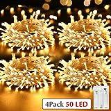 [Lot de 4] Kolpop Guirlande Lumineuse Pile, 5m 50 LEDs Mini Guirlande LED a Pile Intérieur et Extérieur Décoration Lumière pour Chambre Noël Mariage Soirée Maison Jardin (Blanc Chaud)
