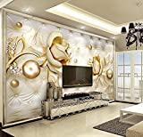 Yosot 3D Carta Da Paratis Luxury Gold Rose Sacca Morbida Palla Monili Tv Parete Di Sfondo Living Room Bedroom Carta Da Parati Per Pareti 3D-350Cmx245Cm