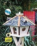 Futterhaus,Vogelhäuser wetterfest, mit Silo,Futtersilo für Winterfütterung,mit Beleuchtung