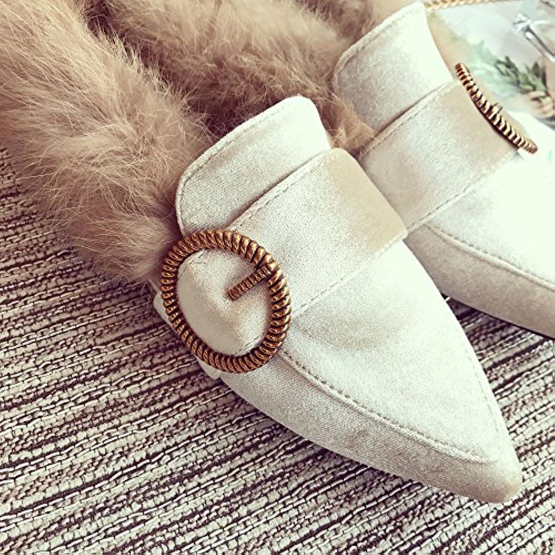 LaxBa Moda Mujer Otoño e Invierno Inicio zapatillas de algodón interior y exterior del albaricoque35