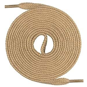 Lacets Mount Swiss© Premium, 1paire de lacets plats, 100% coton, indéchirables, largeur 7mm, longueur 45‑200cm 45 cm beige