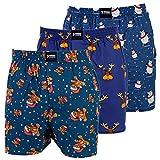 Happy Shorts 3 Webboxer Herren Boxer Motiv Boxershorts Christmas Weihnachten, Grösse:L - 6-52, Farbe:Set 1