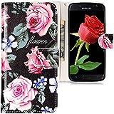 CLM-Tech kompatibel mit Samsung Galaxy J7 (2017) DUOS Hülle Tasche aus Kunstleder, PU Leder-Tasche Lederhülle Rosen Blumen Muster rosa schwarz Mehrfarbig