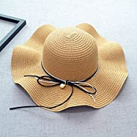 JASNO Pearl Summer Hats For Women Fashion Double Mix String Design Women Beach Sun Cap Straw Wave Wide Brim Hats