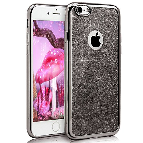 EMAXELERS iPhone 8 Hülle Glitzer Bling Cristall Diamant Shinning Silikon Crystal Bumper TPU Etui Handy Tasche für Apple iPhone 7/8 4.7 Zoll,Black Frame Apple Black Frame