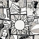 i.stHOME Klebefolie Comic Schwarz/weiß - Möbelfolie Retro Style - 45x200 cm - Selbstklebende Folie, Bastelfolie Vintage, Selbstklebefolie -
