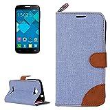 Case For Android Phone Protege tu teléfono, Denim Textura Funda de Cuero con Ranuras para Tarjetas y Soporte y Cinta para Alcatel One Touch Pop C7 (Color : Azul)