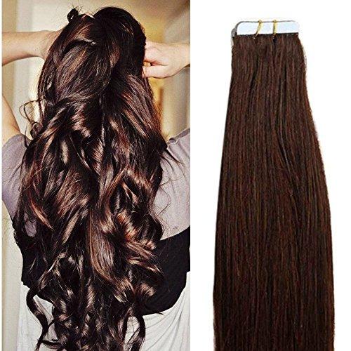 40cm extension capelli veri adesive riutilizzabili - 20 fasce 2.5g/fascia #02 marrone scuro - 100% remy capelli umani