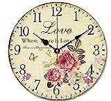 """Jinberry 14"""" (34 cm) Shabby Chic Vintage Rond Silencieuse Pendule Murale en Bois/Ancien Rustique Rétro Horloge Analogique, sans Tic Tac"""