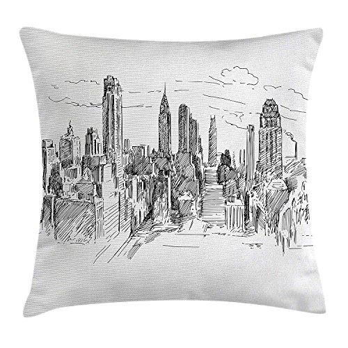 New York Throw Pillow Cushion Cover, Hand Drawn NYC Cityscape Tourism Travel Industrial Center Town Modern City Design, Decorative Square Accent Pillow Case, 18 X 18 Inches, Grey White