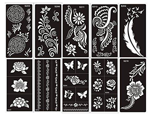 Ensemble de 10 feuilles de pochoirs designs henné à usage unique pour le corps. Convient également aux tatouages pailletés ou à l'aérographe