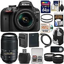 Nikon D3400 Digital SLR Camera & 18-55mm VR DX AF-P Zoom (Black) With 55-300mm VR Lens + 64GB Card + Backpack + Battery & Charger + Tele/Wide Lens Kit
