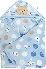 Mee Mee Baby Wrapper with Hood, Polka Print, Blue