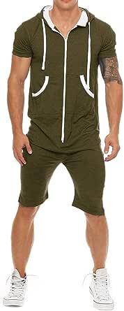 Coshow Men's Jumpsuit Jogging Suit Sports Suit Onesie Tracksuit Fitness Shirt Trousers Short S-XXL