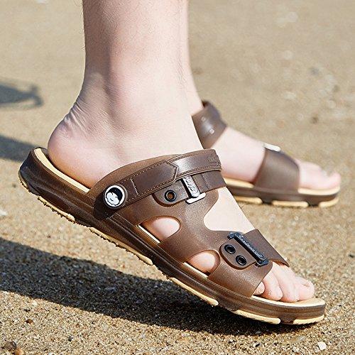 La parole des hommes d'été sandales antidérapantes glisser, salle de bains, Chaussons à l'intérieur et l'extérieur, chaussons, version coréenne de sable à double usage les chaussures de plage marée ba 1707 Brown