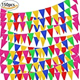 SPECOOL 150pcs Banner Bunting Flags, Banderín Multicolor, Durable y Smoothly Banderas de Nylon para Celebración Eventos Festival Party and Shops Decoraciones de Tela de Nylon