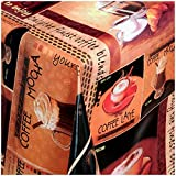 TEXMAXX Wachstischdecke Gartentischdecke Abwaschbar nach Wunschmaß Rechteckig KAFFEE DESIGN COFFE LATTE CAPPUCCINO TERRAKOTTA-BRAUN (251-00) - 230 x 140 CM