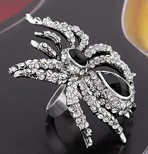 Ecloud Shop 54X44mm Spinne Gotik Strass Tibet Silber Ring Fingerring Verstellbar