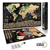 Mappa del mondo da grattare + Bonus Mappa Europa da grattare - Dettagli cartografici che mostrano capitali, meraviglie del mondo e tutte le bandiere dei Paesi - idee regalo - Prodotti In Europa