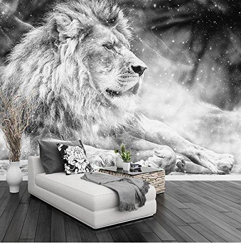 mznm Custom jeder Größe Wandbild 3D Tapete Schwarz und Weiß Löwe Wandbild Wohnzimmer TV Sofa Schlafzimmer Home Decor 3D 280x200cm