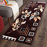 #3: Global Home Multicolor Modern Long Lasting, Washable Rugs/Carpet/Floor mat (22 x 55 inch), Viscose Touch, Soft for Bedroom/Living Room/Drawing Room - Brown