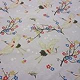 Stoff Meter Baumwolle grau Kranich Kimono Japan überbreit