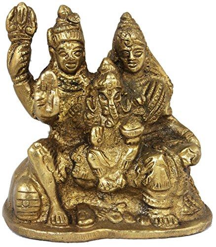 SKAVIJ Shiva Parvati und Ganesha - shivas Familie Messing religiöse Figuren und statuen - 7,6 cm