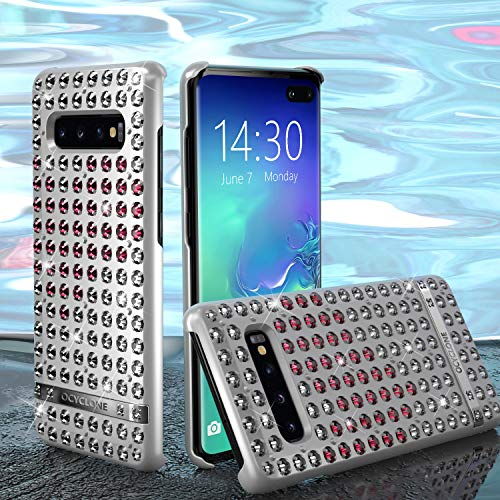 OCYCLONE Galaxy S10 Plus Hülle, Liebesherz Glitzer Bling Diamante Strass Galaxy S10 Plus Schützhülle für Mädchen Frauen, Glitzer Handyhülle für Samsung Galaxy S10 Plus [6.4 Zoll] Silber -