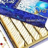 #9: Ghasitaram Gifts Rakhis For Brother Rakhi Sweets - Pure Kaju Katlis Box 200 gms with Rudraksh Rakhi