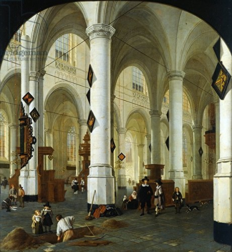 "Leinwand-Bild 80 x 90 cm: ""Interior of the Oude Kerk in Delft (oil on canvas)"", Bild auf Leinwand"