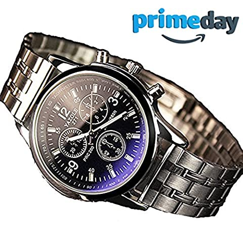 Uhren Herren, Metall Armbanduhr, Blue Ray Glas Quartz Analog