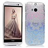 HTC One M8 Hülle PC Hartes Case Lanveni Hardcase Transparant Durchsichtig Handyschale Schutzhülle Handycover Tasche Etui-Muster:Totem Blume