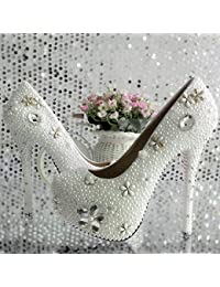 JINGXINSTORE Pearl wedding shoes Rhinestones con plataforma impermeable zapatos de cristal blanco zapatos de princesa...