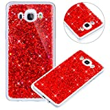 Surakey Compatible avec Coque Samsung Galaxy J7 2016,Paillette Strass Brillante Glitter Transparent Silicone TPU Souple Housse Etui Bumper Case Cover de Protection pour Galaxy J7 2016,Rouge