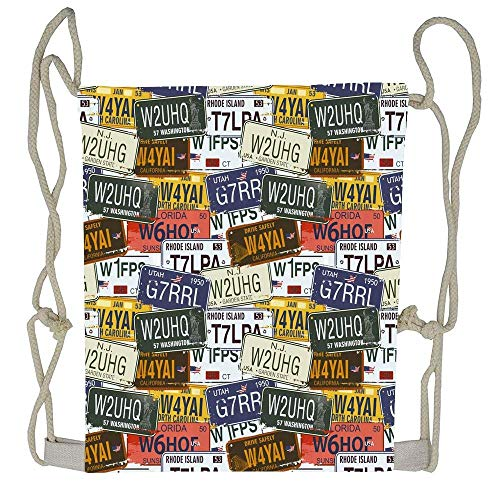 Naiyin USA Retro American Auto License Plates Utah Washington Rhode Island North Carolina Print Drawstring Tote Bag Cinch Gym Bags Storage Backpack for Boys Girls American White Plate