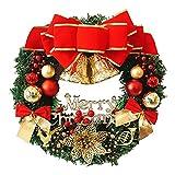 35cm Weihnachten Kranz Tür Wand Verzierung, Blumengirlande Dekoration, Anhänger Kranz Weihnachtsdeko Weihnachtskranz Türkranz mit Kugeln, Weihnachten Dekor