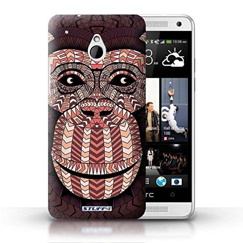 Kobalt® Imprimé Etui / Coque pour HTC One/1 Mini / Loup-Sépia conception / Série Motif Animaux Aztec Singe-Rouge