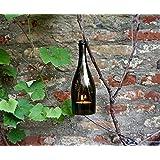 Upcycling- Hängelampe aus einer Proseccoflasche (olivgrün) inklusive großem Teelicht