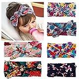 Enuo 6Pcs Baby Blumen Turban Mädchen Kinder Stirnband Floral Kopfband Haarband Haarschleife Haarschmuck