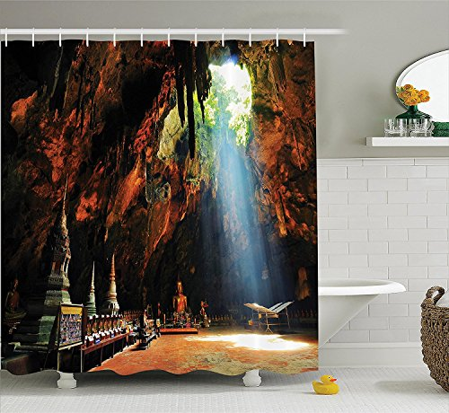 ADAM MARTINEZ JR Natural Cave Decorations Shower Curtain Set, Sunbeam in Religious Cave Temple Tham Khao Luang Near Phetchaburi Thailand, Bathroom Accessories, 69W X 70L inches, Multi - Cave Temple