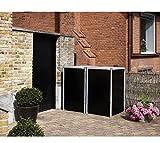 Hide Mülltonnenbox, Mülltonnenverkleidung, Gerätebox schwarz // 121x63x115 cm (BxTxH) // Aufbewahrungsbox für 2 Mülltonnen 140l