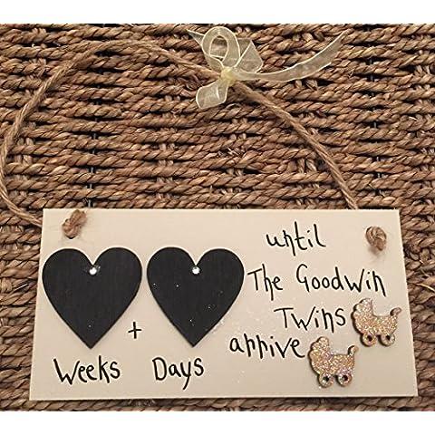 madeat94bebé ducha regalo cuenta atrás placa de corazón doble con 2cochecito adornos