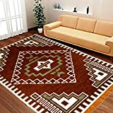 """Laying Style Velvet Touch Abstract Chenille Carpet - 84"""" x 60"""", Brown"""