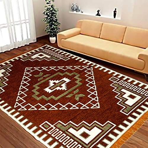 Laying Style Velvet Touch Abstract Chenille Carpet, 7 feet (Length) x 5...