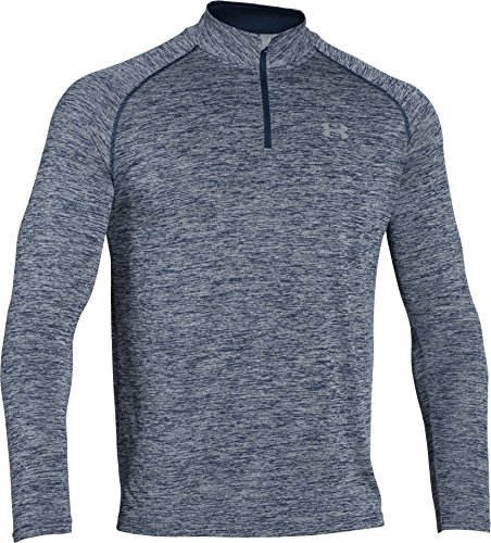 Under Armour Herren Fitness Sweatshirt UA Tech 1/4 Zip, Blau (Midnight Navy Heather), XL, 1242220-411 (Langarm-shirt Coldgear)