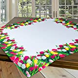 Tischdecke TULPENWIESE / 85x85 cm / modern bedruckte weiße Mitteldecke für den Frühling